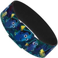 "Dory Poses Swirls Blues Yellows Elastic Bracelet   1.0"" Wide"