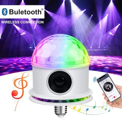 E27 Bluetooth speaker stage light White , Bluetooth Speaker RGB LED Stage Light Strobe Disco Party DJ Ball Lamp DMX Colors - M