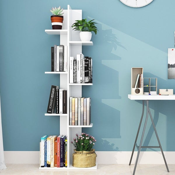 Costway Open Concept Bookcase Plant Display Shelf Rack Storage Holder Wooden White