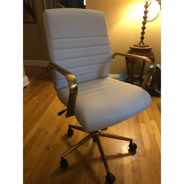 9543f63d4 ... OSP Home Furnishings Baldwin Mid-Back Faux Leather Chair with Gold  Finish Arms and Base