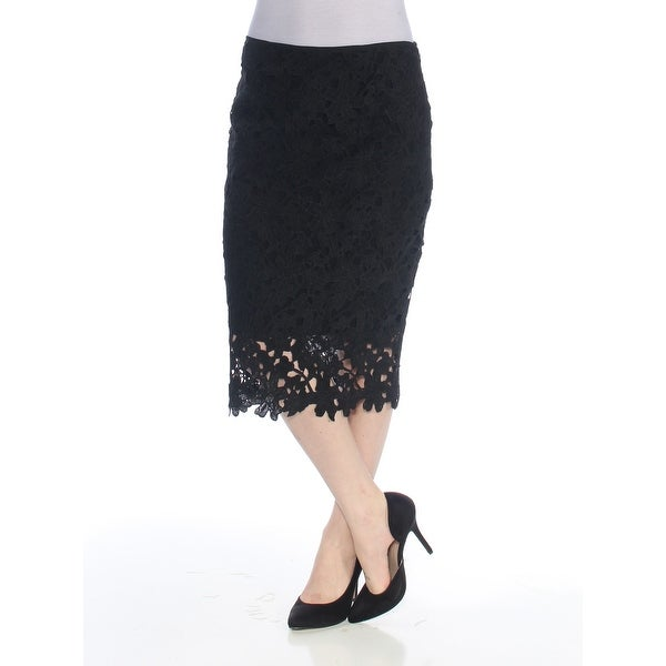VINCE CAMUTO Womens Black Floral Crochet P Below The Knee Pencil Cocktail Skirt Size: 0