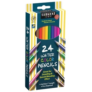 Sargent Art Non-Toxic Watercolor Pencil, 7 in L, Assorted Color, Pack of 24
