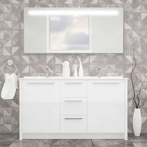 Benna 63 inch Glossy Grey Double Sink Freestanding Bathroom Vanity Set