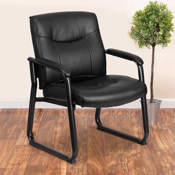 Big & Tall Soft Leather Sled Base Executive Reception Chair. Opens flyout.