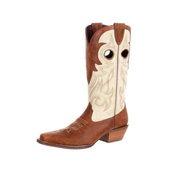 Durango Western Boots Womens Crush Collar Narrow Square Tan