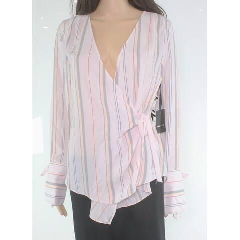 f480bb3b5653cc TROUVE Women's Striped Chiffon Tie-Sleeve Pink Size Small S Wrap Blouse