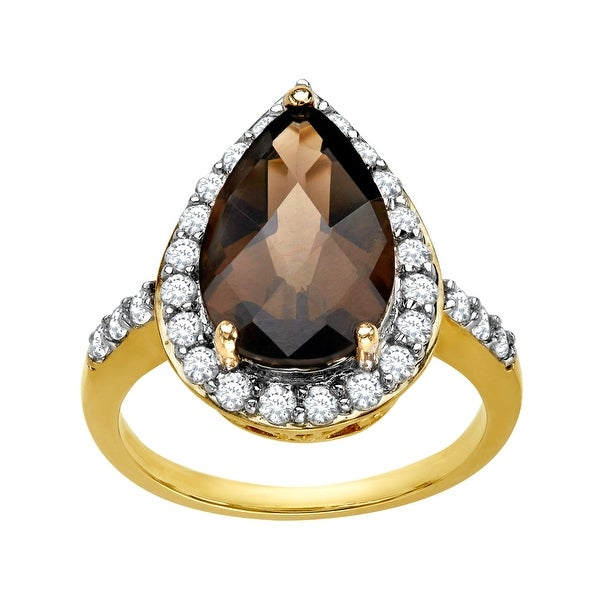 4 ct smoky Quartz Ring in 10K Gold - Brown