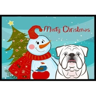 Carolines Treasures BB1840MAT Snowman With White English Bulldog Indoor & Outdoor Mat 18 x 27 in.