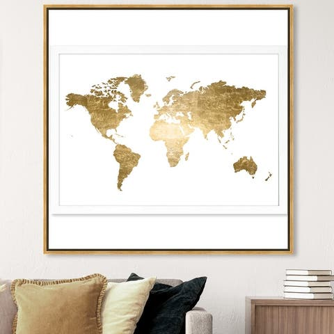 Oliver Gal 'Hipster Mapa Mundi Gold Foil' Maps and Flags Wall Art Framed Canvas Print World Maps - Gold, White
