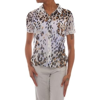 Leggiadro Camp Shirt Short Sleeve Collared Neck Blouse Women Regular Blouse