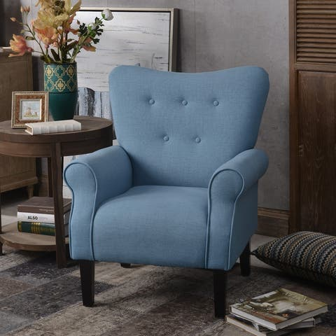 Modern Upholstered Wing Back Accent Chair Roll Arm & Wooden Legs, Blue
