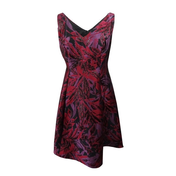 acf06aca Shop Adrianna Papell Women's Plus Size Jacquard Fit & Flare Dress (18W,  Wine Multi) - Wine Multi - 18W - Free Shipping Today - Overstock - 25447678
