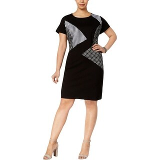NY Collection Womens Plus Special Occasion Dress Mixed Media Short Sleeves