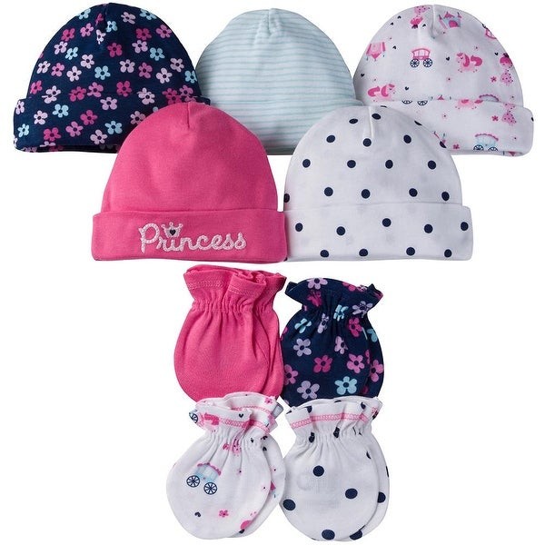 47c8991d0 Gerber Baby and Infant 9-Piece Girls Princess 5 Caps & 4 Mittens Set - Pink  and Blue Princess with Flowers