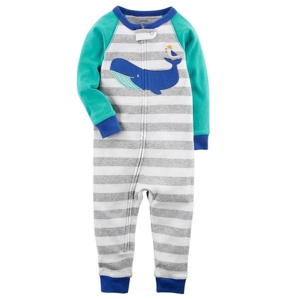 9e8fbf84f38e Shop Carter s Little Boys  1-Piece Whale Snug Fit Cotton Footless ...