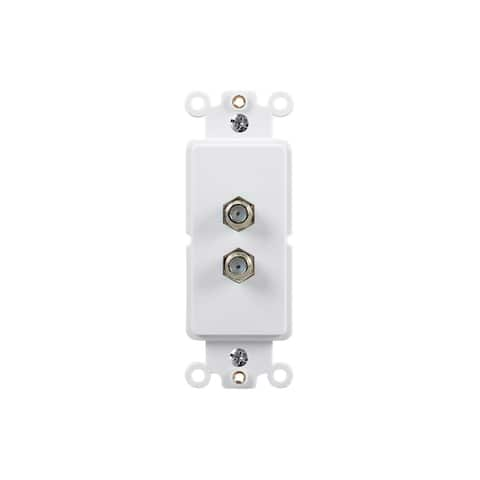 Monoprice Dcor Insert with 2 F Couplers - White for Home Office Install