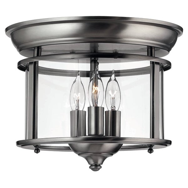 Hinkley Lighting H3473 3-Light Indoor Semi-Flush Ceiling Fixture from the Gentry Collection - Pewter