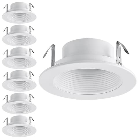 """6 Pack 4"""" Recessed Can Light Trim, Metal Step Baffle"""