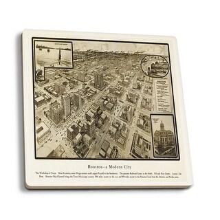 Houston, TX - (1812) - Panoramic Map (Set of 4 Ceramic Coasters)
