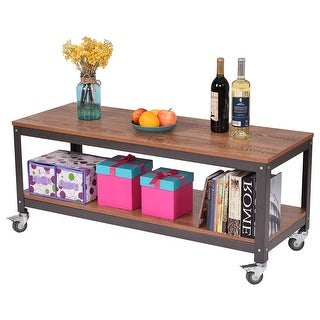 Modern Industrial Style Metal Wood Coffee Table with Locking Casters