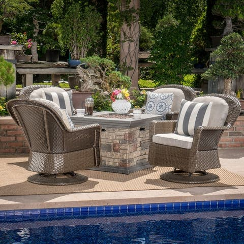 Alhambra 5-piece Swivel Chair Fire Table Set by Christopher Knight Home