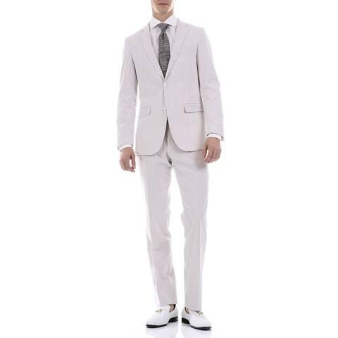 Ferrecci Men 2-piece 2-button Seersucker Cotton Slim Fit Summer Suit