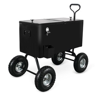 BELLEZE 80 Qt Ice Chest Party Beach Wagon Cooler w/ Built-In Bottle Opener and Cap Catch Tray