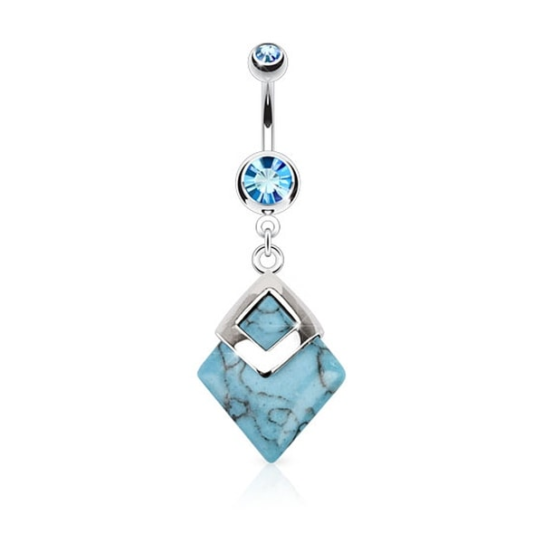 Turquoise Diamond Shaped Semi Precious Stone Mounted 316L Surgical Steel Navel Belly Button Ring