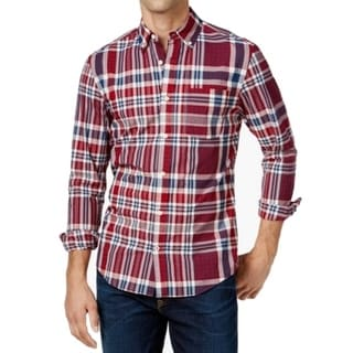 Tommy Hilfiger NEW Red Blue Mens Size Large L Button Down Plaid Shirt