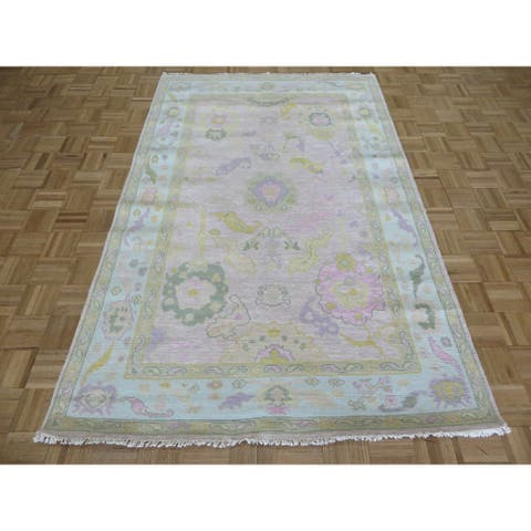 """Hand Knotted Pink Oushak with Wool Oriental Rug (5'1"""" x 8') - 5'1"""" x 8'"""