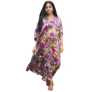 Metropolitan Women's Tropical Long Lounger - Printed V-Neck Silky Caftan Dress - One Size