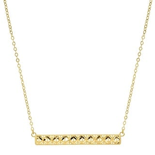 Eternity Gold Horizontal Textured Bar Necklace in 10K Gold - Yellow