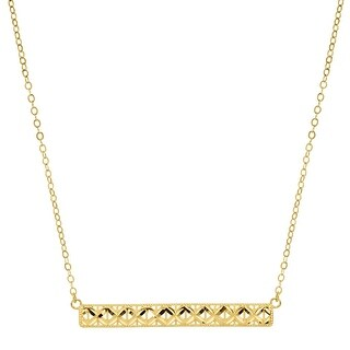 Just Gold Horizontal Textured Bar Necklace in 10K Gold - Yellow