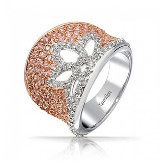 Bling Jewelry Flower Cocktail Ring Rose Pink White Pave CZ Rhodium Plated Rose Gold Plated