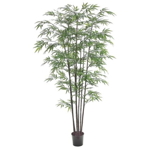 Set of 2 Potted Artificial Black Bamboo Trees 7'