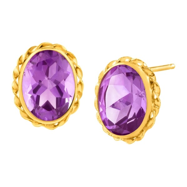 2 1/2 ct Natural Amethyst Button Stud Earrings in 14K Gold - Purple