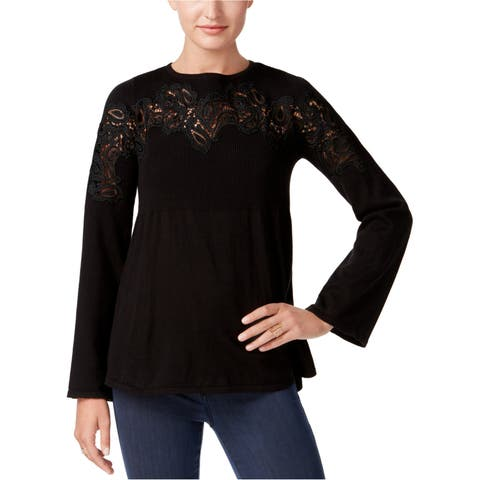 Style&Co. Womens Lace-Accent Babydoll Pullover Sweater