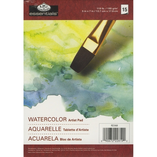 "Essentials Watercolor Artist Paper Pad 5""X7""-15 sheets"