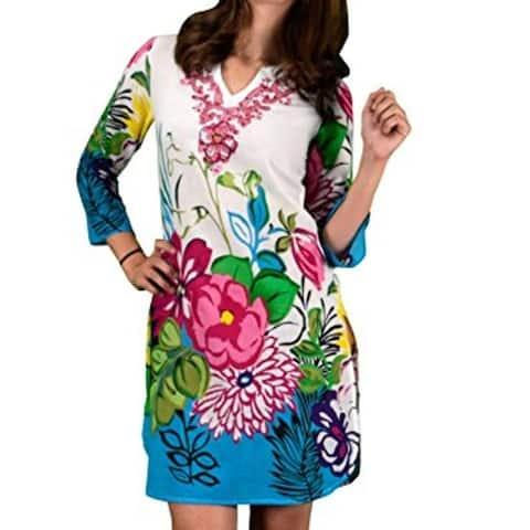 100% Cotton Bohemian Floral Summer Tunics Beach Cover Ups