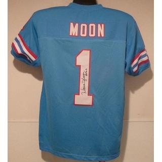 """Warren Moon Autographed Blue Size XL jersey w""""HOF 06"""" Houston Oilers"""