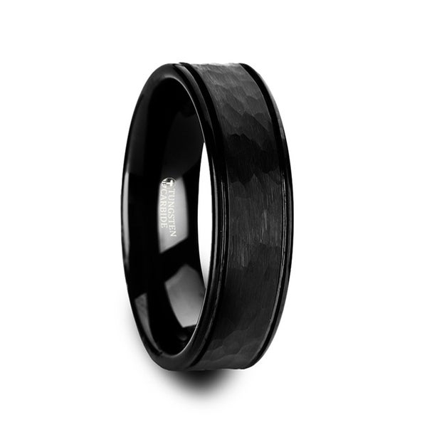 THORSTEN - JOINER Hammered Finish Center Black Tungsten Carbide Wedding Band with Dual Offset Grooves and Polished Edges - 6mm