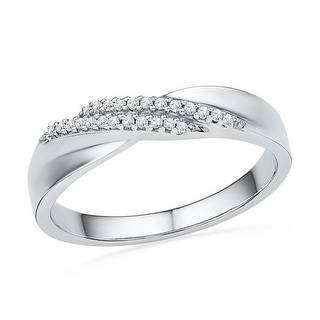 10kt White Gold Womens Round Natural Diamond Band Fashion Ring 1/10 Cttw