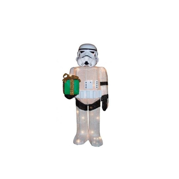"""28"""" Pre-Lit Soft Tinsel Star Wars Storm Trooper Christmas Outdoor Decorations - Clear Lights"""
