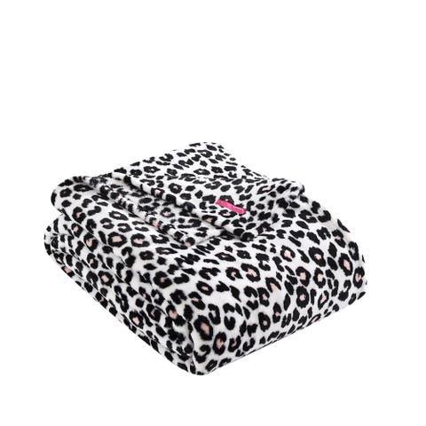 Betsey Johnson Betseys Leopard Pink Ultra Soft Plush Blanket
