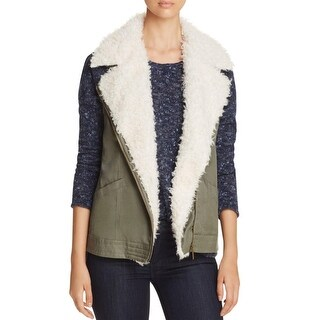 Sanctuary Womens Outerwear Vest Fleece Lined Zip Front