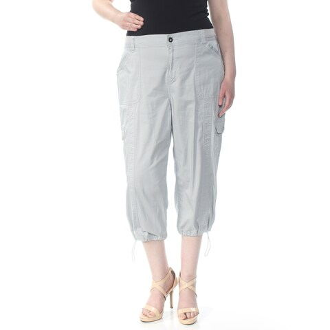 STYLE & COMPANY Womens Light Blue Pocketed Zippered Cargo Pants Size: 18W