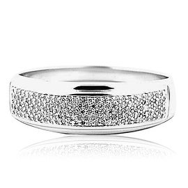 Mens Diamond Wedding Band 1/4cttww Solid Sterling Silver 7mm Wide Comfort Fit(0.25cttw)