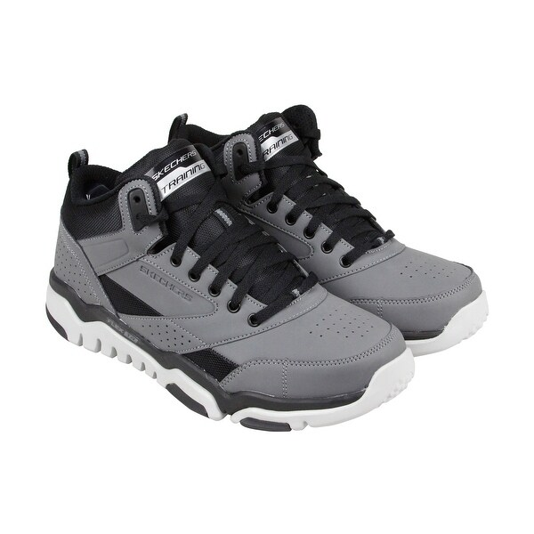 Skechers Burst Tr Halpert Mens Gray Leather Athletic Lace Up Athletic Shoes