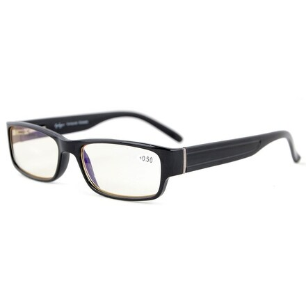 Eyekepper Quality Spring-Hinges Yellow Tinted Lenses Computer Glasses Eyeglasses Black +2.75