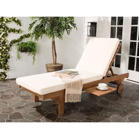 "Safavieh Outdoor Living Newport Brown/ Beige Cart-Wheel Adjustable Chaise Lounge Chair - 27.6"" x 78.7"" x 14.2"""